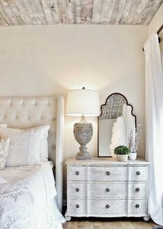 french country bedroom desigh with lots of whitewashed surfaces - Shelterness