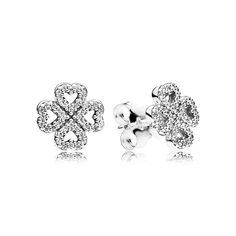 These sweet sterling silver stud earrings will add a new and stylish element to your earlobes. Suited for both daily and formal wear, they will add on-trend sparkle to your outfit. #PANDORA #PANDORAearrings