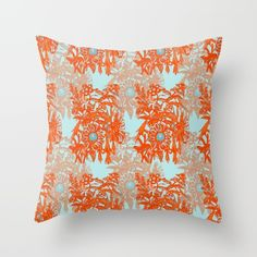 #Orange and #blue #floral #pattern #rectangular #pillow #society6 #heaven7 Worldwide Shipping + 15% Off New Carry-All Pouches