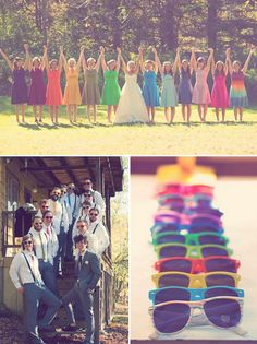 Rainbow Wedding Bridesmaid Dresses. The best way to deal with all my sisters. Lol.