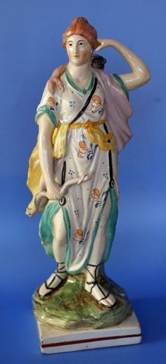 Antique British Pearlware Staffordshire Pottery Figure Archer