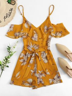 Shop Open Shoulder Self Tie Waist Floral Romper online. SheIn offers Open Shoulder Self Tie Waist Floral Romper & more to fit your fashionable needs. Cute Girl Outfits, Cute Summer Outfits, Cute Casual Outfits, Outfits For Teens, Girls Fashion Clothes, Summer Fashion Outfits, Women's Fashion Dresses, Rompers For Teens, Rompers Women