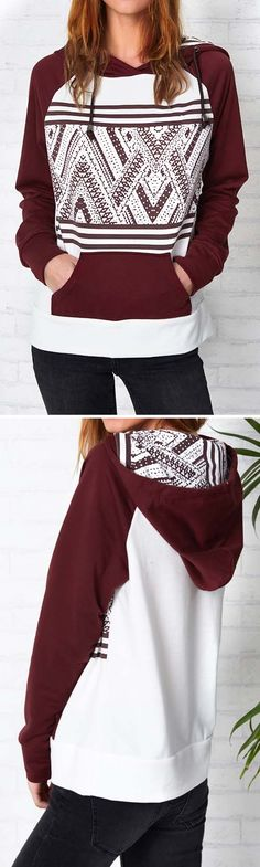 Wow, Only $28.99! This contrast color sweatshirt is in it to win your heart! All those color look amazing together and that print is so eye catching! It's all so girlish and flattering!