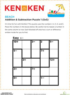 Your fourth grader will need to use addition and subtraction to decide which number goes in each square within this KenKen® logic puzzle.
