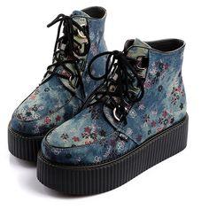 2014 Design Women's Rock Graffiti Hip-Hop Sexy High Top Lace Up Flat PlatForm Women's Goth Creepers Shoes Punk Pumps Warm Ankle Martin Boots