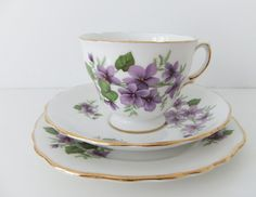 Royal Vale China Trio - tea cup, saucer and side plate in White Bone China with violets #peonyandthistle