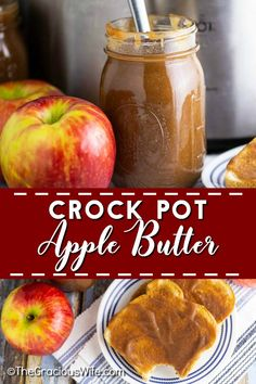 Crockpot Apple Butter is smooth, spiced, and tastes like apple pie! You would never guess just how easy it is to make and that it's actually healthy too! Apple Butter Canning, Homemade Apple Butter, Apple Butter Slow Cooker, Amish Apple Butter Recipe, Healthy Crockpot Recipes, Gourmet Recipes, Sauces, Canned Apples, Fresh Apples