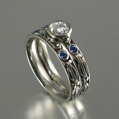 AUGUSTA 14K gold 0.43ct Diamond engagement ring and band with blue sapphire accents