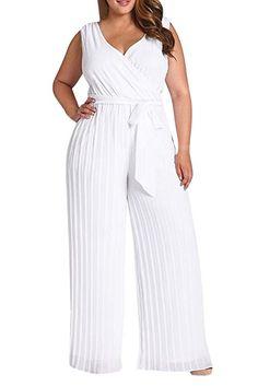 f9e1517703d Women s Plus Size V Neck Ruched Tank Top Wide Pant Jumpsuit Romper 3XL  White MONIK Jumpsuits