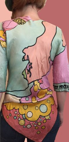 Back of the OOAK 1960s Peter Max hand made shirt out of period Peter Max scarves that I just pinned. (Dick Brodeur Collection)