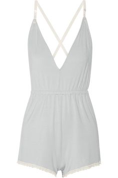 Cheek Frills x Carolyn Murphy | Lace-trimmed stretch-modal playsuit | NET-A-PORTER.COM
