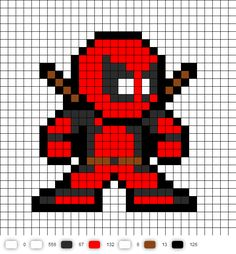 Days of Future Past Deadpool perler bead pattern Melty Bead Patterns, Hama Beads Patterns, Beading Patterns, Perler Beads, Perler Bead Art, Cross Stitching, Cross Stitch Embroidery, Cross Stitch Patterns, Pixel Art Logo