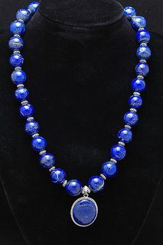 Lapis Lazuli Bead Necklace with Oval Pendant