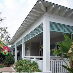 *COCO* Costa Mesa, CA - Architectural Eyebrow Bahama-Style Shutters for a Gorgeous Porch in Solid Wood Construction - Yelp Bermuda Shutters, Bahama Shutters, Interior Exterior, Exterior Design, Exterior Shutters, Beach Cottage Style, Beach House, Rico Design, Decks And Porches