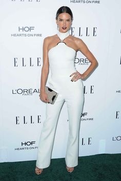 Alessandra Ambrosio looked fierce in this all white jumpsuit.