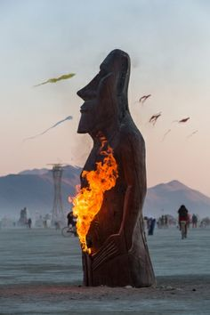 """Annunaki Watch Artist Matthew """"Timeless"""" Welter inverted the traditional approach to torching art on the playa by burning his installation """"Annunaki Watch"""" from the inside out."""