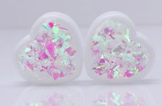 Diamond Heart Iridescent Heart Plugs by GlitzGauge on Etsy