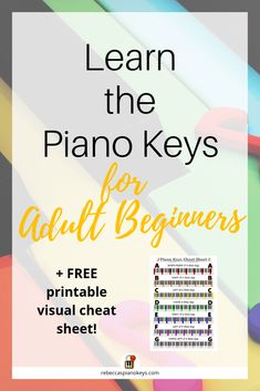 Learn the piano keys for adult beginners -- A detailed explanation of the keys on the piano, with images AND a FREE printable visual cheat sheet to make learning the piano keys EASY! Piano Songs For Beginners, Learn Piano Beginner, Beginner Piano Music, Piano Lessons For Kids, Piano Lessons For Beginners, Easy Piano Songs, How To Learn Piano, Elementary Music Lessons, Teach Yourself Piano