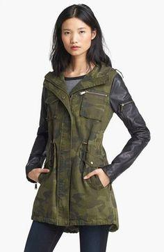 BCBGeneration camo and leather jacket