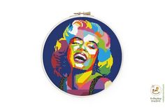"Colorful Marilyn Monroe cross stitch pattern, Celeb cross stitch, Famouse people cross stitch, Pop art xstitch, Abstract actress portrait chart, Geometric xstitch ★★★ Pattern details★★★ DMC colors: 23 154 stitches wide X 154 stitches high Aida 14: 11.0"" X 11.0"" (28.0 X 28.0 cm) Aida 16: 9.6"" X 9.6"" Cross Stitch Art, Modern Cross Stitch, Cross Stitch Patterns, Cute Camera, White Crosses, Cat Colors, Celebrity Portraits, Pet Loss, Cat Face"
