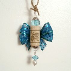 Wine cork Angel in Turquoise Handmade by OuLaLaWineGifts on Etsy Wine Cork Ornaments, Cork Crafts, Belly Button Rings, Angel, Entertaining, Turquoise, Holidays, Bottle, Unique Jewelry