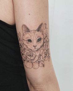 Swipe to see video with all details . Swipe to see video with all details . Black Cat Tattoos, Mini Tattoos, Cute Tattoos, All Tattoos, Beautiful Tattoos, Stippling Tattoo, Cat Tattoo Designs, Upper Arm Tattoos, Aesthetic Tattoo