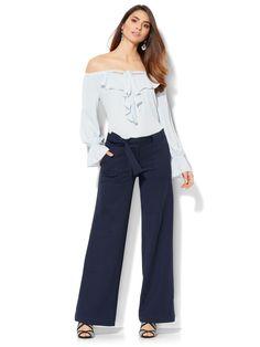nyandcompany---- 7th-Avenue-Pant-Palazzo-Tie-Front-Ponte----Iliana Papageorgiou----04671700_180_av4---- Billie Eilish, Palazzo, Ariana Grande, Tie, Model, Pants, Fashion, Trouser Pants, Moda