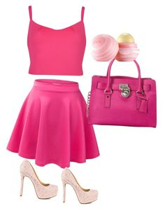 """All pink"" by mopatjones ❤ liked on Polyvore featuring Ted Baker, Jessica Simpson, MICHAEL Michael Kors and Eos"