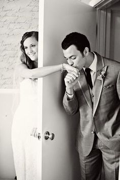 I love this! If you wanted to take a picture together before the wedding but didn't want to break tradition :)