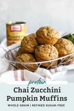 Chai Pumpkin Zucchini Muffins with a hint of protein. Made with whole grain flour, sweetened with coconut sugar and perfectly moist. Protein Muffins, Protein Snacks, Protein Cake, Protein Cookies, Healthy Muffins, High Protein, Coconut Flour, Coconut Sugar, Pumpkin Zucchini Muffins