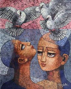 An online art gallery offering the best range of indian art online. Choose to buy from paintings, prints, artworks and more by renowned artists. Indian Artwork, Indian Art Paintings, Abstract Face Art, Clay Mugs, Krishna Painting, India Art, Indian Artist, Clothing Hacks, Saree Dress