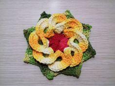 Flor de Crochê Para Aplicação # Flor Amarela