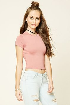 Knit Crop Tee | Forever 21 - 2000237437