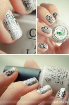 Cheeky Beauty stamping plate (CH16) and opi skull  glossbones #nails Opi, Wow Nails, Pretty Nails, Nice Nails, Fancy Nails, Garra, Nail Polish Designs, Nail Designs, Grey Nail Art