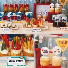 Lehua's car themed baby shower included Vroom Vroom Veggies (in wedding left-over clear plastic wine glasses as they kind of looked like trophies) and Carprese Kabobs.  Sandwiches, cupcakes... - SB