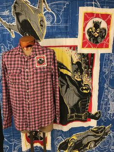 Batman Shirt Batman Gift Flannel DC Comics Vintage 1992 Fabric Eco Shirt Size Large by MBReinventionCouture on Etsy