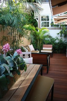 Small Patios for Entertaining + IPE Decking and Furniture  530 Grinnell St.  Key West, FL 33040  Featured in Coastal Living Magazine