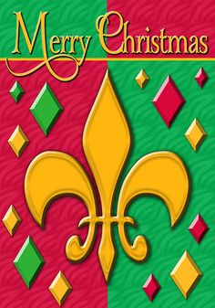 Fleur de lis Merry Christmas - Decorative Flag - Standard Size 28 Inch X 40 Inch ^^ Awesome product. Click the image : Garden Christmas Decorations
