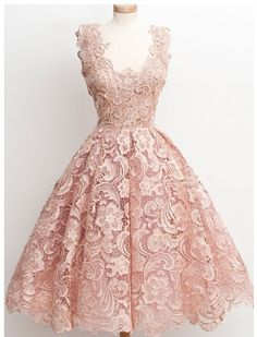 Elegant Pink Homecoming Dress,Lace charming Short Prom Dress,Vintage Bridesmaid dresses