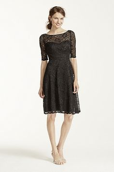 MORE COLORS Short Lace Dress with Illusion Neck and Sleeves Style F15721 In Store & Online $159.00