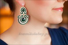 soutache earrings with Swarovski Crystals. Emerald+ecru+silver.