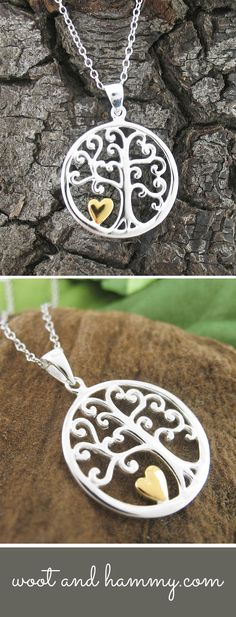 A lush tree of life is given an endearing character with its curlicue branches and a golden heart.  The design is simple and naturalistic, rendered in polished sterling silver.  The Tree of Life motif is a traditional symbol of our interconnectedness to the people around us, and the golden heart is a reminder to give and receive love to our family and friends.