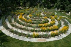 The Wildflower Labyrinth, located at the center of the Core Park, is a riot of color and interest in late summer. Based on a traditional seven ring labyrinth, Gary Smith, our Landscape Architect, designed the plantings to emulate life's journey. In places, the going is easy as low growing plants brush along your knees. In other spots, the going is more difficult as grasses and taller plants lean out into the walkway.