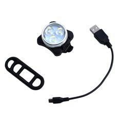 실용 자전거 자전거 자전거 3 LED 헤드 전면 후면 테일 라이트 충전식 배터리 USB 충전 케이블