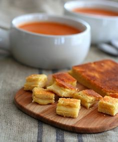 Land O'Lakes is donating $1 to Feeding America for every pin!   Grilled Cheese Croutons and Simple Tomato Soup  (can also be made low carb)