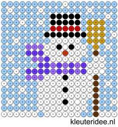Kralenplank sneeuwpop, kleuteridee.nl , thema winter, sneeuwpop , free printable  Beads patterns preschool .