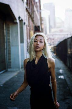 Vanessa Hong from the Haute Pursuit rocking platinum blonde Blonde Bangs, Brown Blonde Hair, Asian Woman, Asian Girl, Blonde Asian, Blonde Color, Hair Color, Light Hair, Grunge Hair