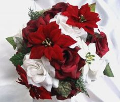 christmas+wedding+bouquets | 21pc Bridal Bouquet Wedding Flowers Burgundy Christmas