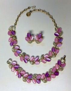 necklace and earring set Vintage signed Lisner bracelet