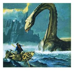 Nessie, the Loch Ness Monster Weird Creatures, Fantasy Creatures, Mythical Creatures, Lake Monsters, Myths & Monsters, Loch Ness Monster, Saint Yves, Monster Art, Monstre Du Loch Ness